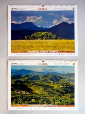 Maggio | I Magredi del Dandolo, sullo sfondo delle Prealpi carniche (Pn); Giugno | Le alture del Collio e le Alpi Giulie slovene (Go)